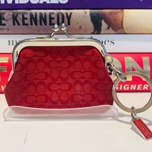 Coach Monogram Snap Coin Purse Key Fob
